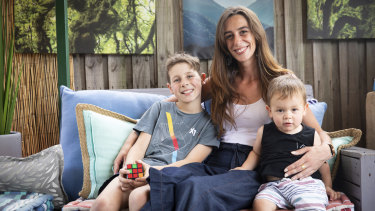Catherine Cook and her sons Ashton, 10, and Jack, 18 months, at their home in Glenmore