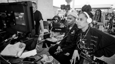 Screenwriter Lena Waithe (left) and director Melina Matsoukas on the set of Queen and Slim.