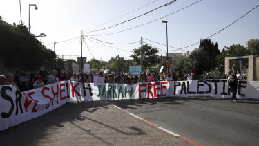 Activists hold a demonstration in support of Palestinians facing eviction from Sheikh Jarra, Israel/