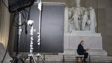US President Donald Trump speaks during a Fox News town hall at the Lincoln Memorial in Washington, DC.