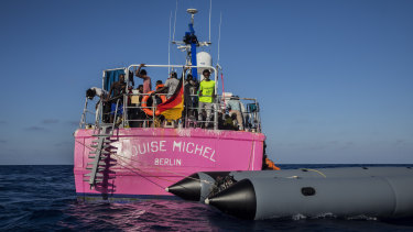 The Louise Michel rescue vessel with people rescued on board, after performing two rescue operations on the high seas in the past days.
