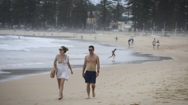 Manly Beach on the northern beaches was closed due to COVID-19 on Friday.