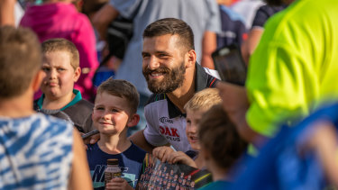 Fan favourite: Josh Mansour meets supporters in Bathurst last season.