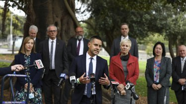 Sydney MP Alex Greenwich alongside members from Dying with Dignityand MP's from a broad range of parties speaks to the media about The Voluntary Assisted Dying Bill in Sydney.