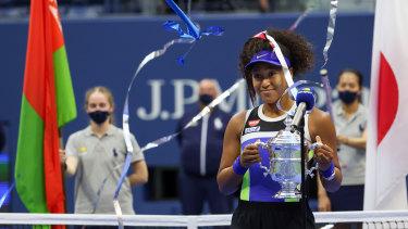 Naomi Osaka celebrates a comeback victory after winning the US Open.