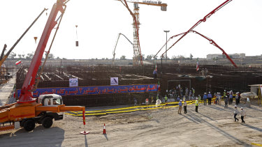 Concrete is poured for the base of the second nuclear power reactor at Bushehr plant, south of Tehran, Iran, late last year. It's the second Bushehr reactor, and the second built with help from Russia.