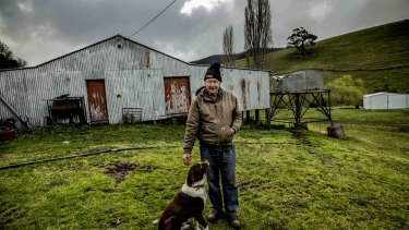 CFA volunteer Peter Sandy at his Swifts Creek farm in East Gippsland.