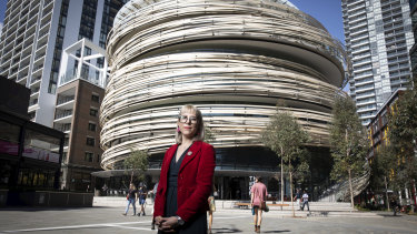 Heather Davis, the City of Sydney's manager of libraries and learning, outside the new Darling Harbour library.
