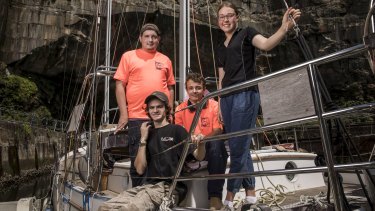 The Wright of Passage crew in Woolwich Dock: Mark Basciuk, Liam Gough (sitting), Jackson McCabe and Delilah Scott.