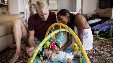 Amrita Kapur and Paul Keogh with their baby girl Ishani.