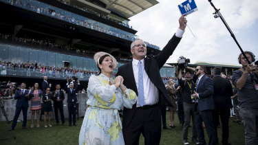 Prime Minister Scott Morrison and wife Jenny watch Winx win the Queen Elizabeth Stakes.