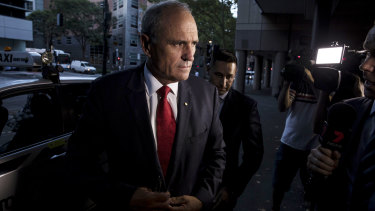 Outgoing NAB Chairman Ken Henry arrives at the ABC in Sydney on Thursday.