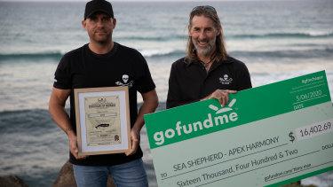 DjangoHopkins (left) also received a bravery award on Friday, as he donated the GoFundMe money toSea Shepherd.