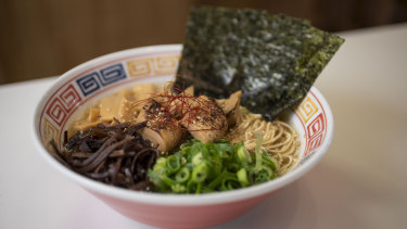 The sunflower and hempseed shoyu combines a dynamo vegetable broth with shallots, nori and seasoned bamboo shoots.