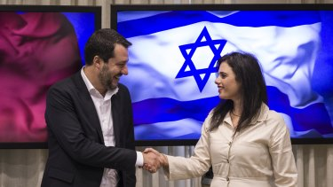 Israeli Justice Minister Ayelet Shaked,right, meets with the Italian Interior Minister and Deputy-Premier Matteo Salvini at the Knesset in Jerusalem on Wednesday.