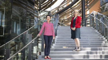 Sydney Lord Mayor Clover Moore, pictured with Heather Davis, said she hoped the striking design of the new library attracted new visitors.