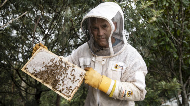 Andrew Leeds with his bees at home in Kenthurst.