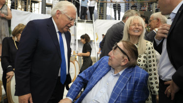 US ambassador to Israel David Friedman (left) talks to American business magnate Sheldon Adelson and his wife Miriam at the opening of an ancient road at the City of David, a popular archaeological and tourist site in the Palestinian neighbourhood of Silwan in east Jerusalem.