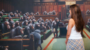 Banksy's 'Devolved Parliament' on display at Sotheby's.