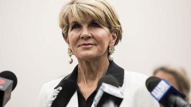 Julie Bishop at the crew's official launch at Woolwich Dock on Thursday.