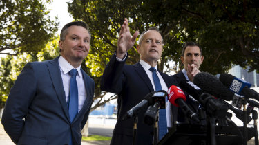 Shadow treasurer Chris Bowen, Opposition Leader Bill Shorten and shadow finance minister Jim Chalmers.