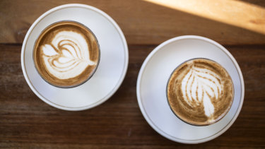 Spot the difference: An almond latte, left, and a soy latte.