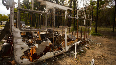 Remains of a caravan after the New Year's fires at Mallacoota.
