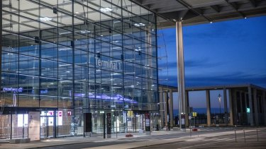 Finally open: entrance to Terminal 1 of new BER Berlin Brandenburg airport.