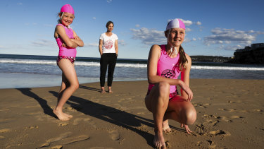Piper Brenchley, mum Michal Brenchley and Ava Mcgettigan at Freshwater Beach.