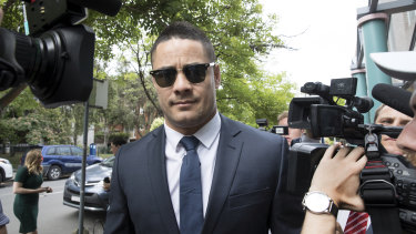 Stony-faced: Jarryd Hayne arrives at court at Burwood on Monday.