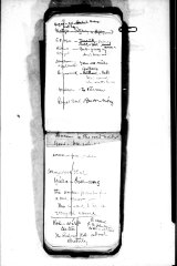 A page from A.W. Howitt\'s notebook recording the Aboriginal names for inner Melbourne suburbs..