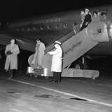 Flu suspects arrive at Mascot on KLM Skymaster, January 1951