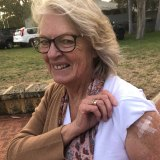Robyn Mahon, 67, was relieved to get the Pfizer vaccine on the first day of its rollout in WA since she had a medical history that caused her GP concern over the AstraZeneca jab.