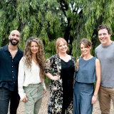 From single table to house-owners: Harry (Roy Joseph), Heather (Doris Younane), Ainsley (Katie Robertson), Liz (Kat Stewart), Ben (Stephen Peacocke), in Five Bedrooms.