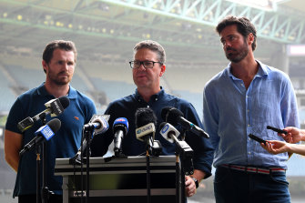 (L-R) AFLPA president Patrick Dangerfield, AFLPA CEO Paul Marsh and AFL CEO Gillon McLachlan. The players voted to accept the proposed 17-game season, but the majority would prefer the full 22 games be played.