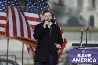 Eric Trump speaks at the rally in Washington.