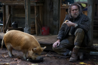 Robin Feld (Nicolas Cage) with his truffle hunting pig in Pig.