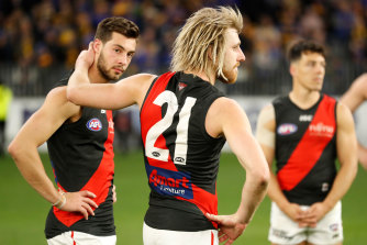 A dejected Dyson Heppell after the loss to West Coast.