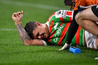Rabbitohs fullback Latrell Mitchell went down injured on Thursday night.