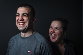 Faruk Orman shortly after his release from jail, with lawyer Ruth Parker.