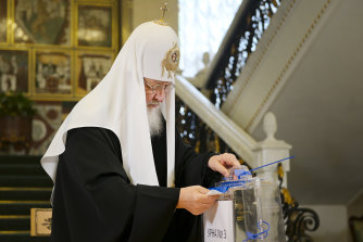 Russian Orthodox Church Patriarch Kirill casts his ballot during the Parliamentary elections in Moscow, Russia.