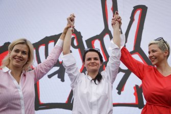 Women shaped the 2020 Belarus election. Svetlana Tikhanovskaya, centre, joined forces with opposition elite Veronika Tsepkalo (left), the wife of a former Belarussian ambassador to Washington and Maria Kolesnikova, who ran another candidate's campaign before he was knocked out.
