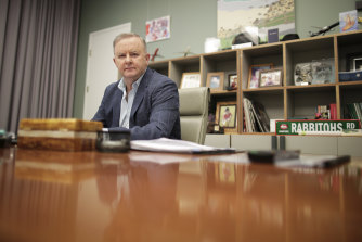 Opposition Leader Anthony Albanese works on his vision speech in his office at Parliament House on Saturday.
