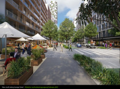 The proposal includes widening the southern end of George Street to create a main thoroughfare lined with trees and shops, with room for pedestrians and cyclists.