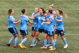 Sofia Huerta celebrates with her teammates after scoring Sydney FC's only goal on Sunday.