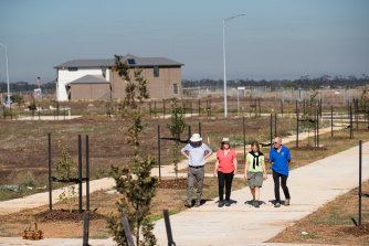 Lisa Field (second from the left) with fellow members of the Werribee River Association and Transition Wyndham pictured at a new estate at Wyndham Vale.