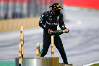 Lewis Hamilton celebrates victory in the Styrian GP.
