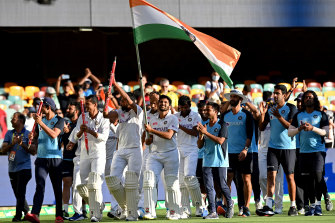 India celebrate a stunning series victory over Australia after their remarkable win in Brisbane.