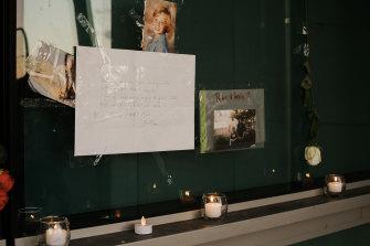 Tributes at the Arthur Street vigil for Peter.