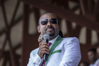 Ethiopian Prime Minister Abiy Ahmed speaks at a final campaign rally in the town of Jimma, Oromia, ahead of national elections earlier this month.